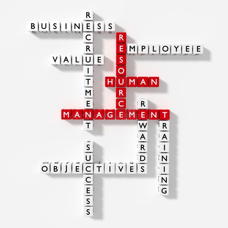 Het kruiswoordraadsel met HRM-beheer van het sleutelwoorden het menselijke middel bedriegt vector illustratie