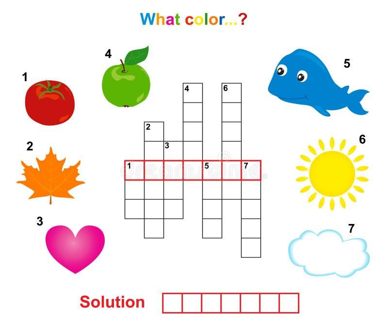 Het kruiswoordraadsel van de kleur stock illustratie