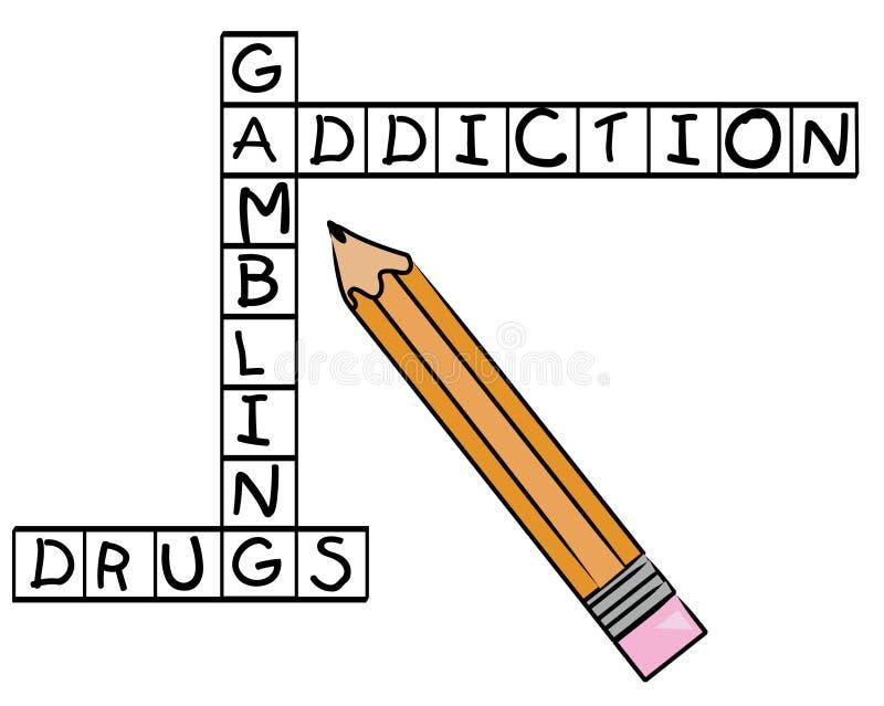 Het kruiswoordraadsel van de verslaving vector illustratie