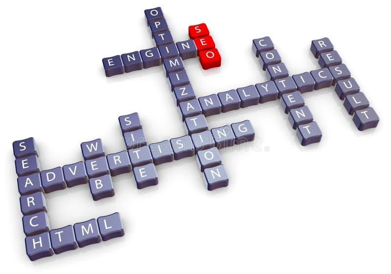 Het kruiswoordraadsel van Seo stock illustratie