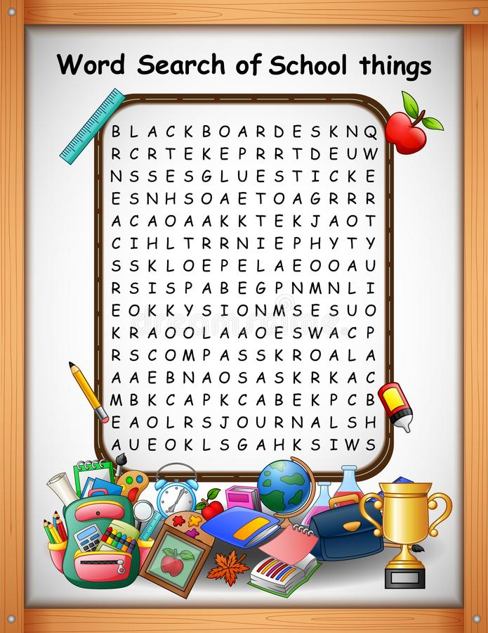 Het kruiswoordraadselswoord vindt schooldingen voor jonge geitjesspelen vector illustratie