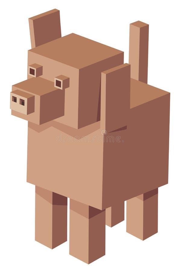 Het kubieke karakter van het hondbeeldverhaal royalty-vrije illustratie