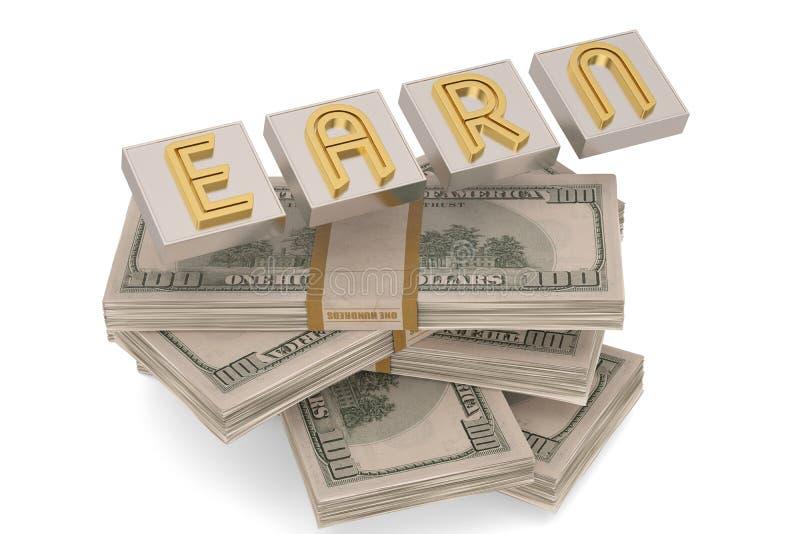Het kubuswoord verdient en dollars op witte 3D illustratie worden ge?soleerd die als achtergrond royalty-vrije illustratie