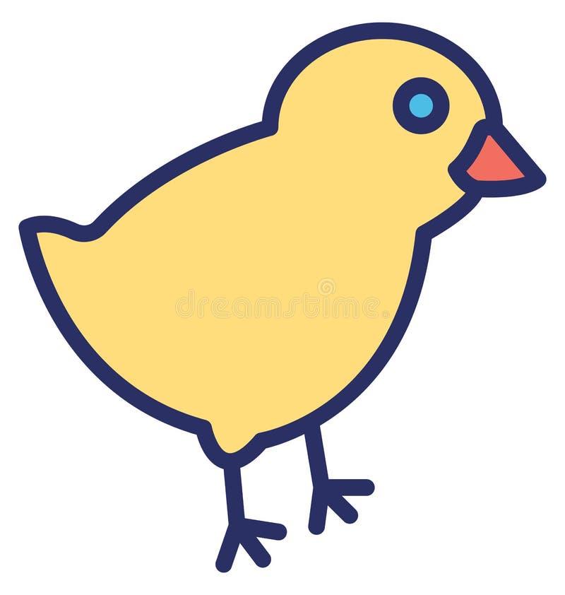 Het kuiken, kip isoleerde Vectorpictogram dat zich gemakkelijk kan wijzigen of uitgeven vector illustratie