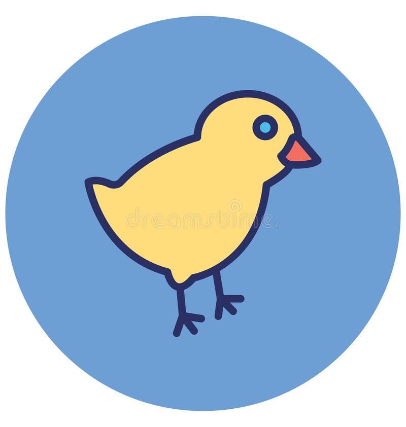 Het kuiken, kip isoleerde Vectorpictogram dat zich gemakkelijk kan wijzigen of uitgeven stock illustratie