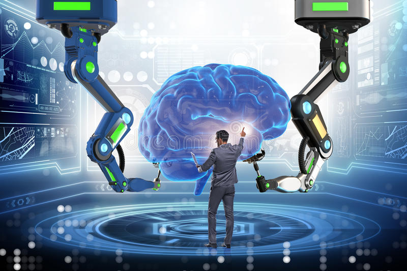 Het kunstmatige intelligentieconcept met zakenman royalty-vrije stock afbeelding