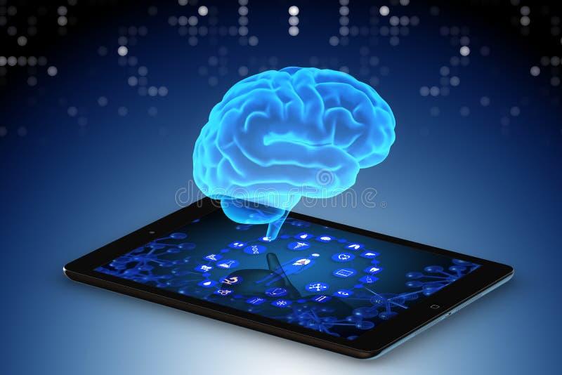 Het kunstmatige intelligentieconcept in telegeneeskunde het 3d teruggeven royalty-vrije illustratie
