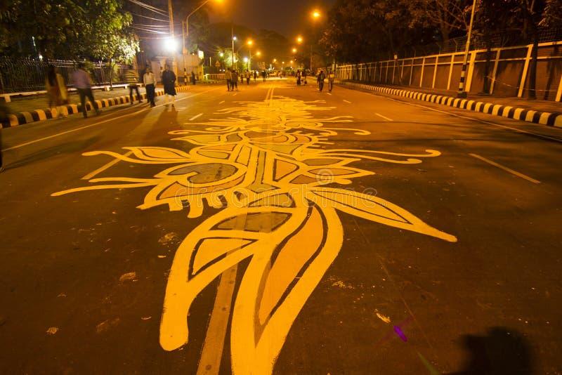 Het kunstwerk in de weg stock afbeelding
