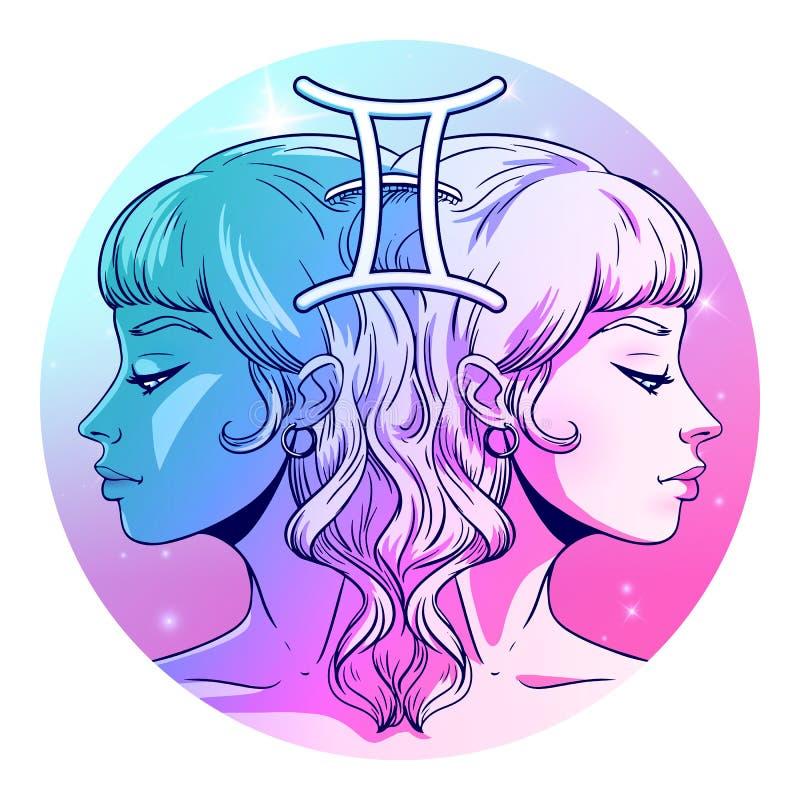 Het kunstwerk van het de dierenriemteken van Tweeling, mooi meisjesgezicht, horoscoopsymbool, sterteken, vectorillustratie stock illustratie