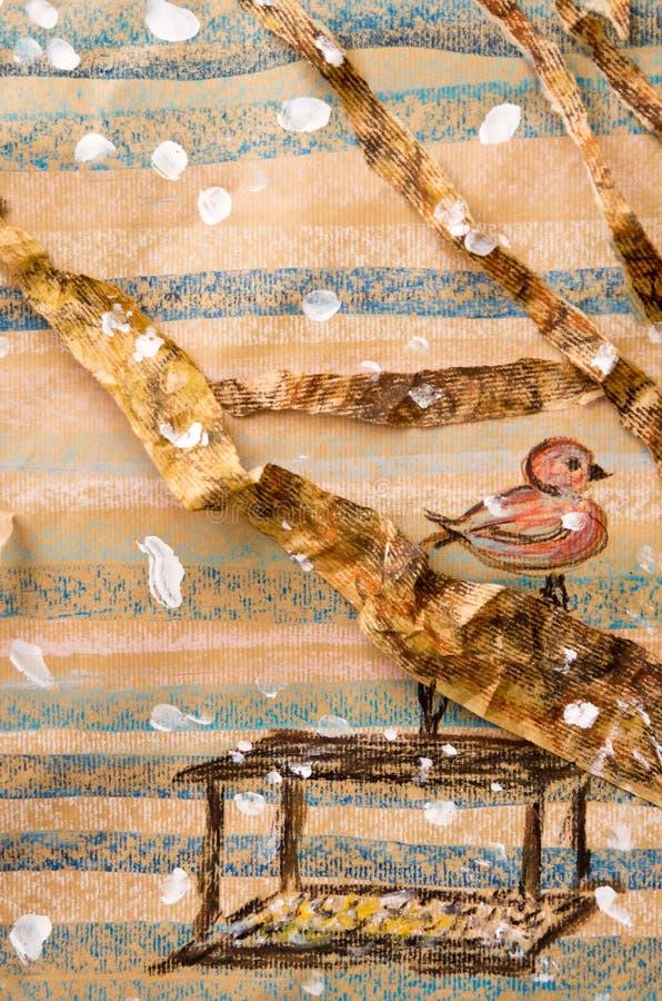 Het kunstwerk van de vogel en van de voeder stock illustratie