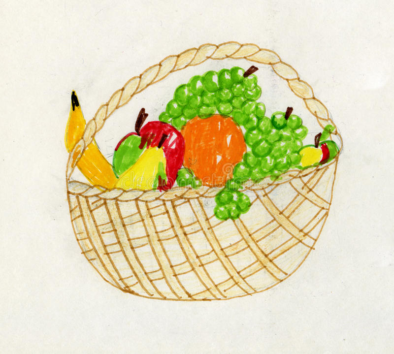 Het kunstwerk van het kind - fruitstilleven stock illustratie