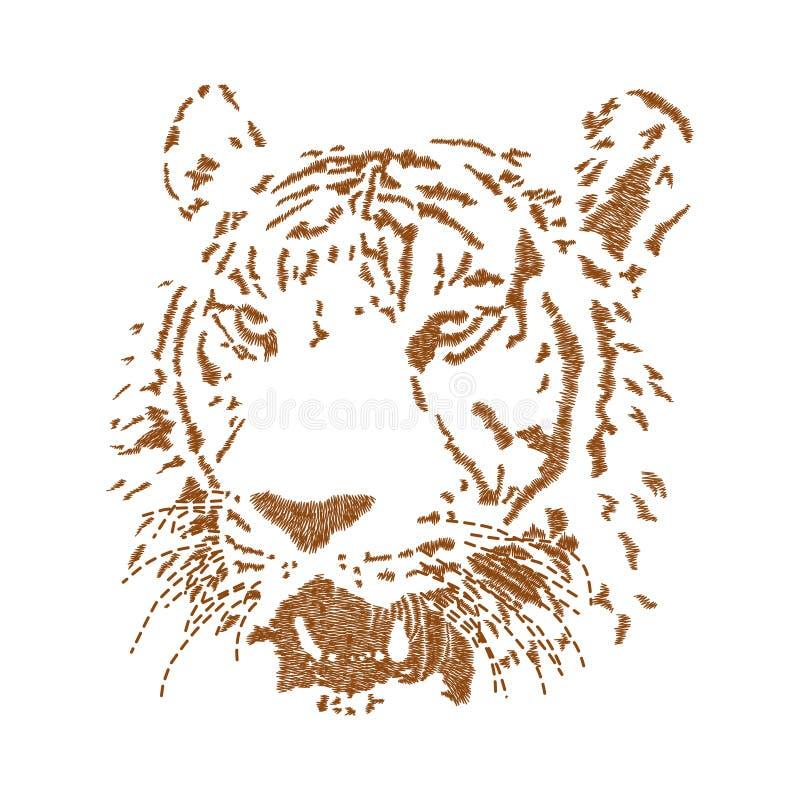 Het kunstwerkontwerp van het tijger hoofdborduurwerk voor manier die, graphi dragen vector illustratie