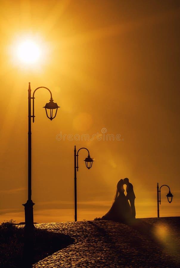 Het kussen van de bruid en van de bruidegom bij zonsondergang royalty-vrije stock afbeelding