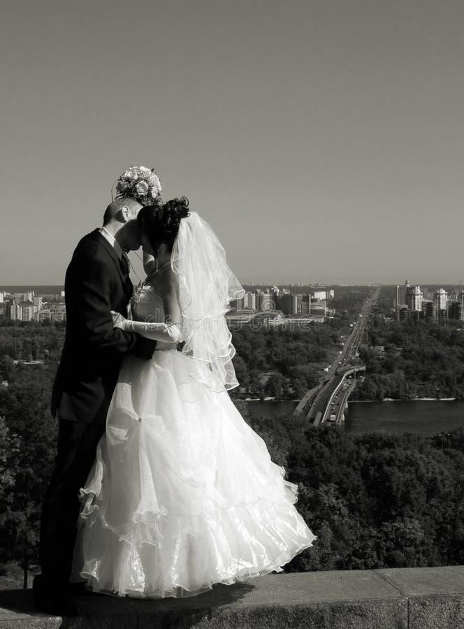 Het kussen van het paar stock foto