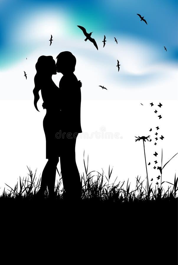 Het kussen van het paar op de zomerweide, zwart silhouet stock illustratie