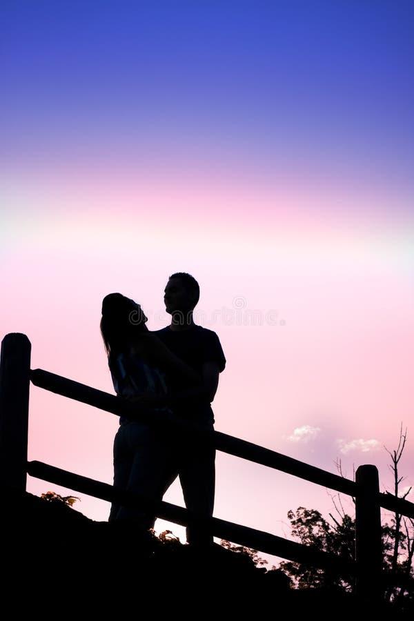 Het kussende Silhouet van het Paar royalty-vrije stock afbeeldingen