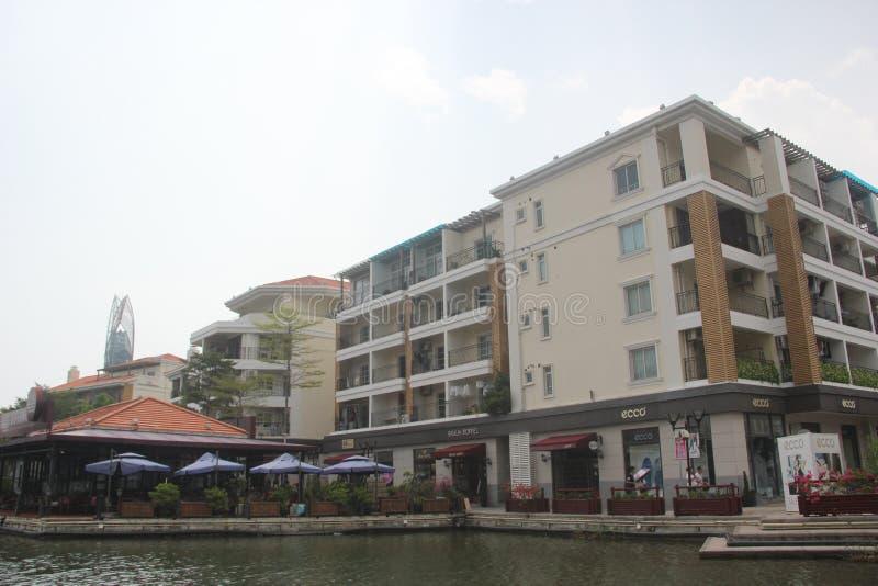 Het kust het winkelen paradijs - afzet in SHENZHEN, CHINA, AZIË stock afbeeldingen