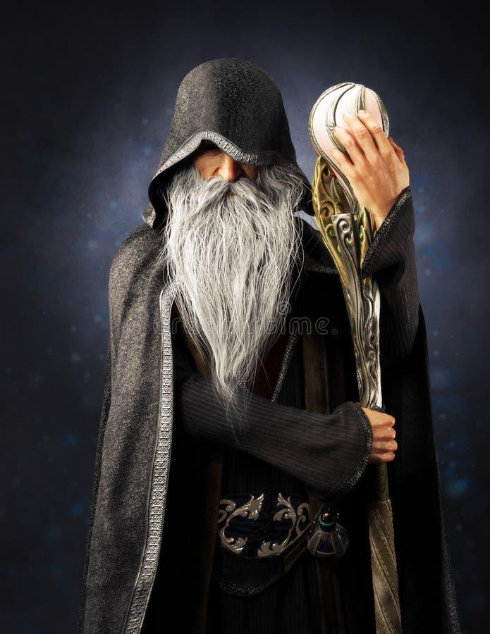 Het kwade Tovenaars oude tovenaar stellen met een kap met personeel op een blauwe gradi?ntachtergrond royalty-vrije illustratie