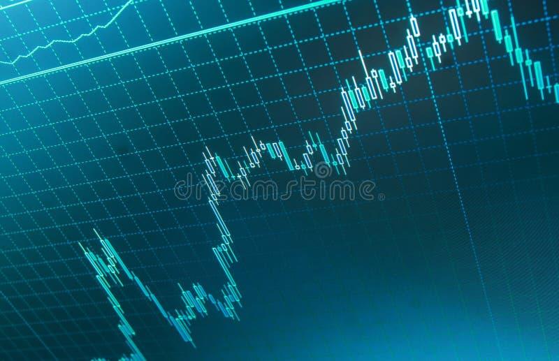 Het kweken van bedrijfsgrafiek met het toenemen op tendens De grafiek van de wereldeconomie Beursgrafiek stock foto