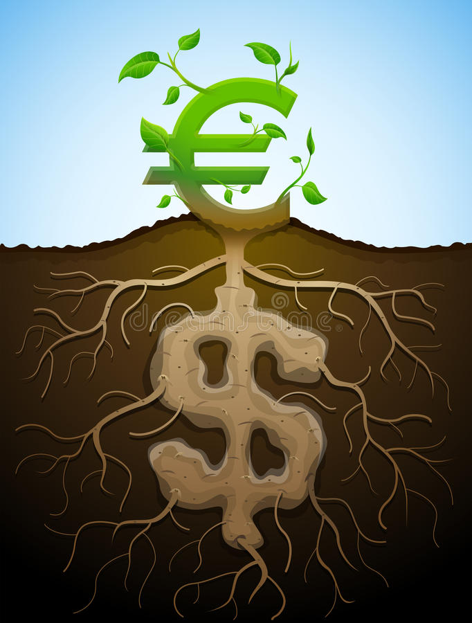 Het kweken van euro teken zoals installatie met bladeren en dollar zoals wortels vector illustratie