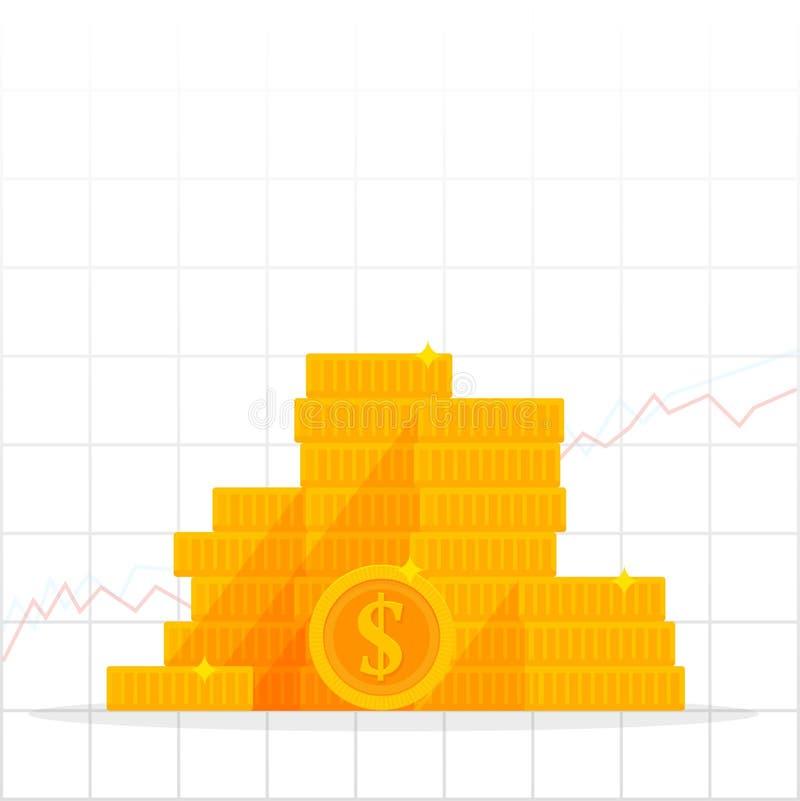 Het kweken van grafiek met gouden dollarmuntstuk Bedrijfsfinanciën en economieconcept geïsoleerde beeldverhaal vectorillustratie vector illustratie