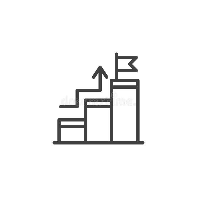 Het kweken van grafiek met vlag op piekoverzichtspictogram royalty-vrije illustratie