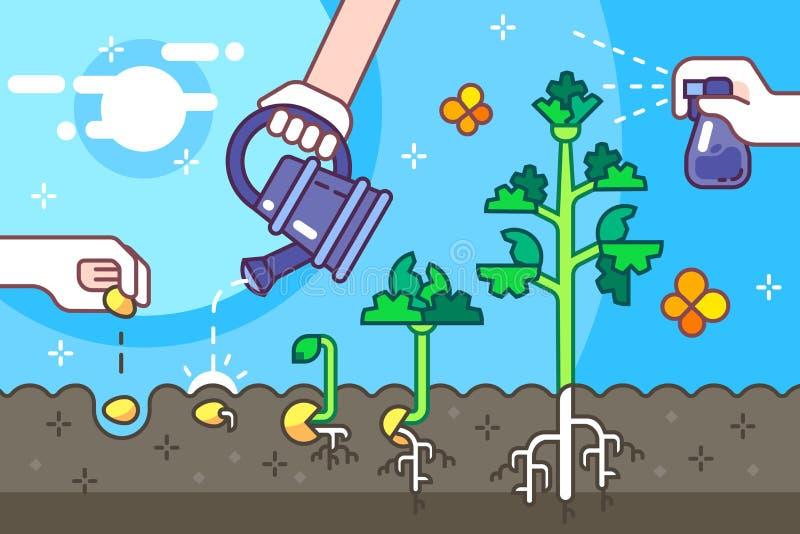 Het kweken van zaden in de grond stock illustratie