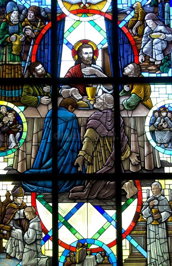 Het laatste venster van het Gebrandschilderd glas van het Avondmaal stock afbeelding