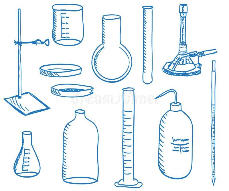 Het laboratoriumapparatuur van de wetenschap - krabbelstijl vector illustratie