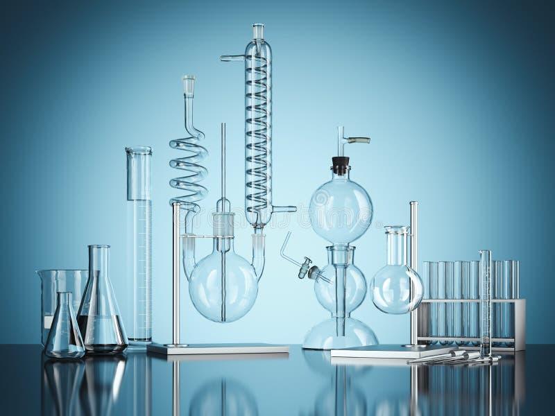 Het laboratoriummateriaal van de glaschemie op blauwe achtergrond het 3d teruggeven stock illustratie