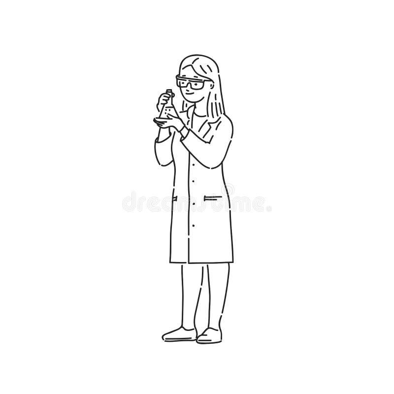 Het laboratoriumtechnicus van de chemicusvrouw in professionele eenvormige bescherming Van het de stijlkarakter van de lijnkunst  vector illustratie