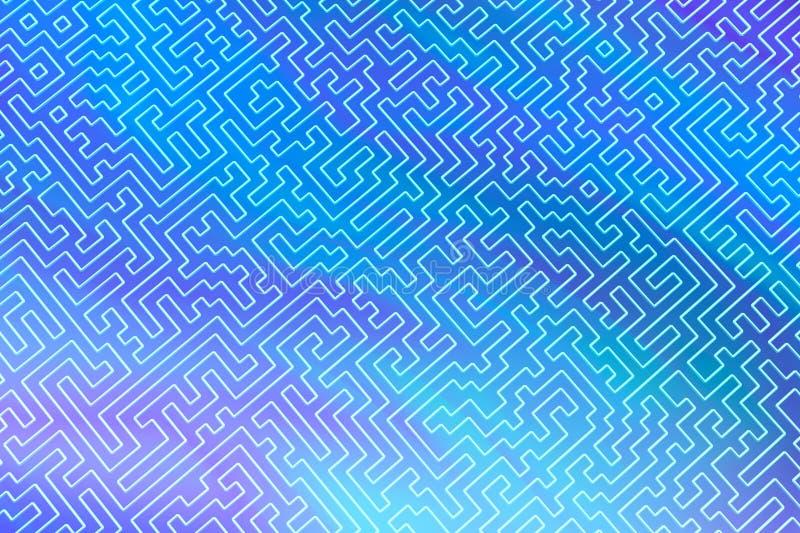 Het labyrint is als een abstract driedimensioneel patroon van psychedelische kleuren 3D visualisatie, illustraties I royalty-vrije illustratie