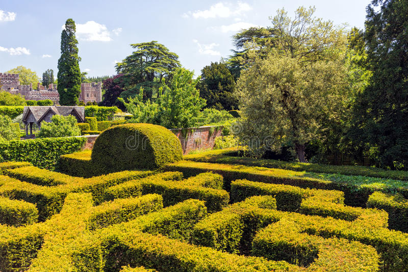 Het Labyrint, Hampton Court, Herefordshire, Engeland stock foto's