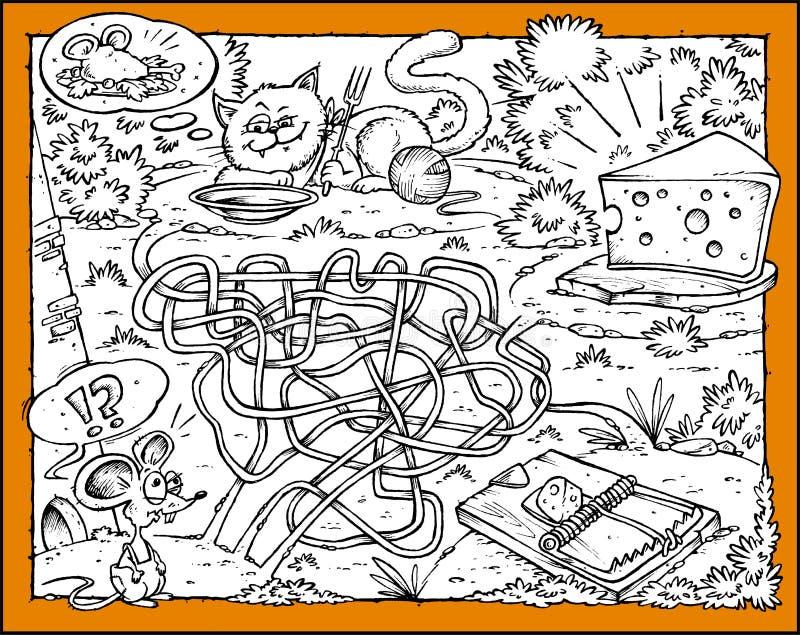 Het Labyrint van de muis, van de Kaas, van de Kat en van de Val vector illustratie