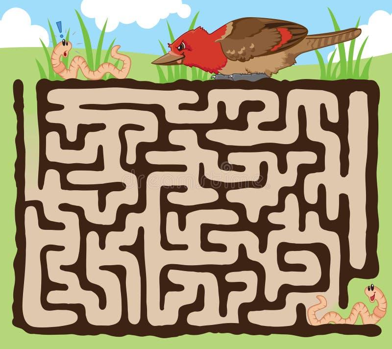 Het labyrintspel van de worm en van de vogel royalty-vrije illustratie