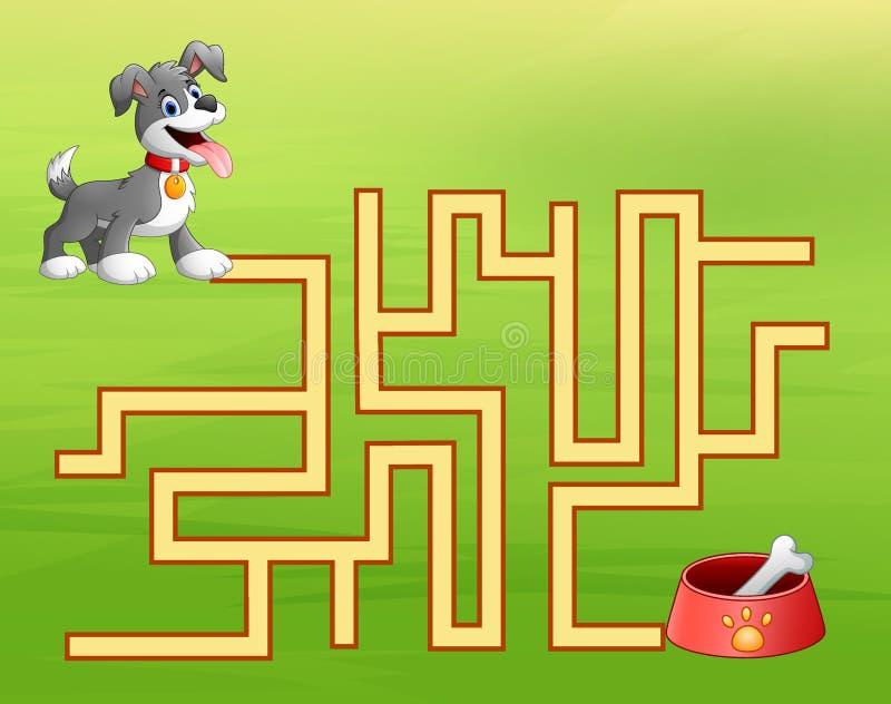 Het labyrint van de spelhond vindt manier aan de hondevoercontainer stock illustratie