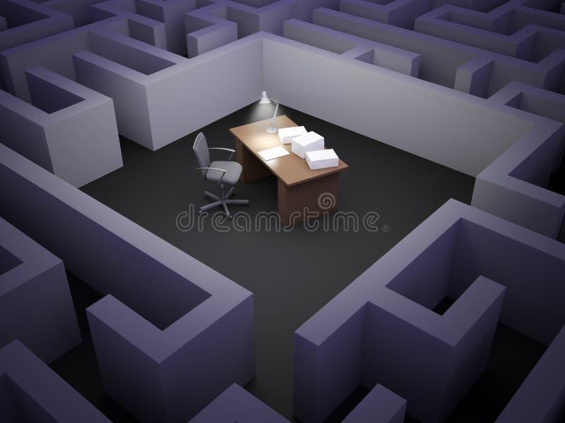 Het labyrint van het bureau royalty-vrije illustratie