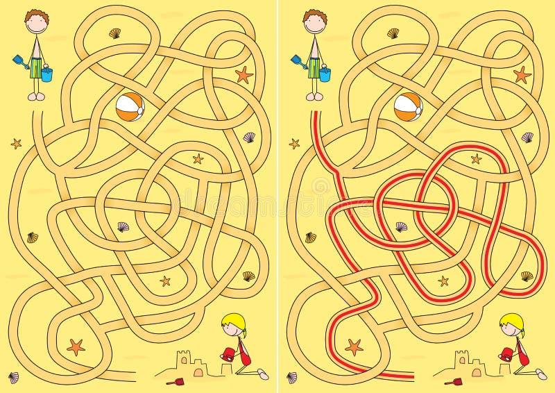 Het labyrint van het strand stock illustratie