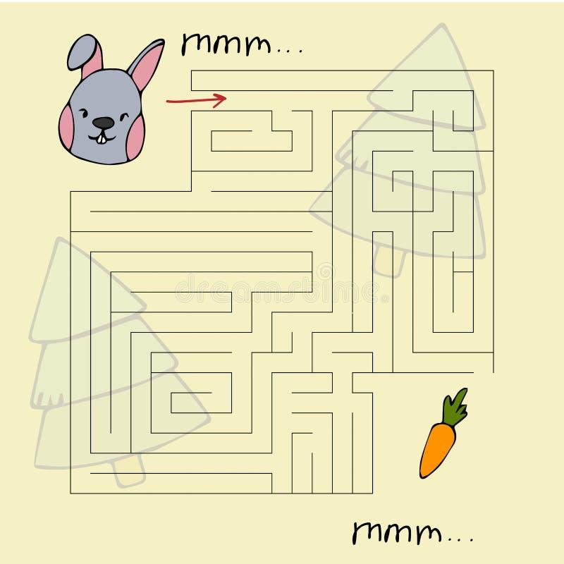 Het labyrint van kinderen met dieren Liefje vectorillustratie royalty-vrije illustratie