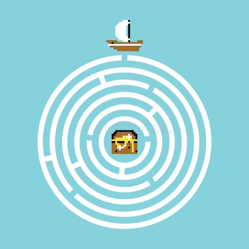 Het labyrintillustratie van de piraatschat stock illustratie