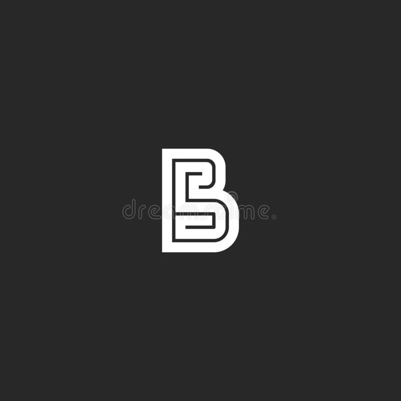 Het het labyrintmonogram van het brievenb embleem, huwelijksuitnodiging paraferen het gewaagde model van het lijnembleem, eenvoud stock illustratie