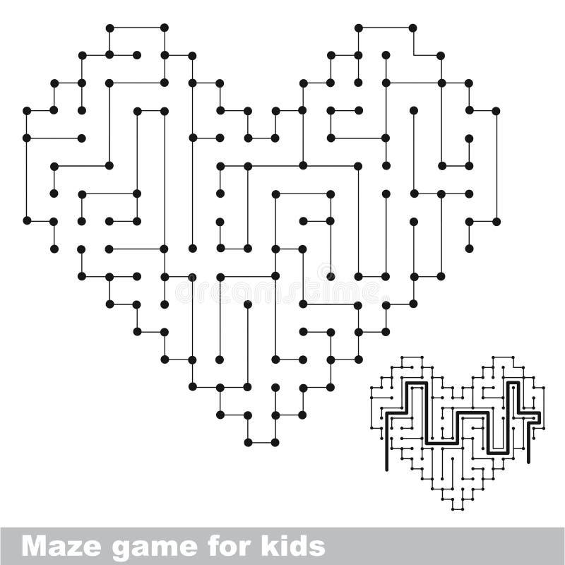Het labyrintspel van het hart kleurloos jonge geitje De manier zoek stock illustratie