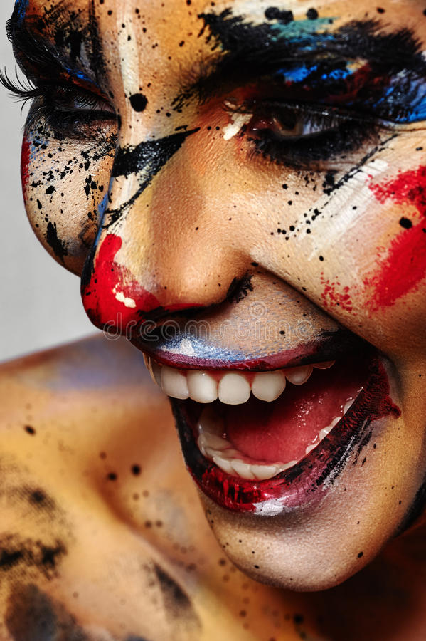 Het lachen de gekke Samenstelling van Clown kleurrijke Halloween royalty-vrije stock afbeelding