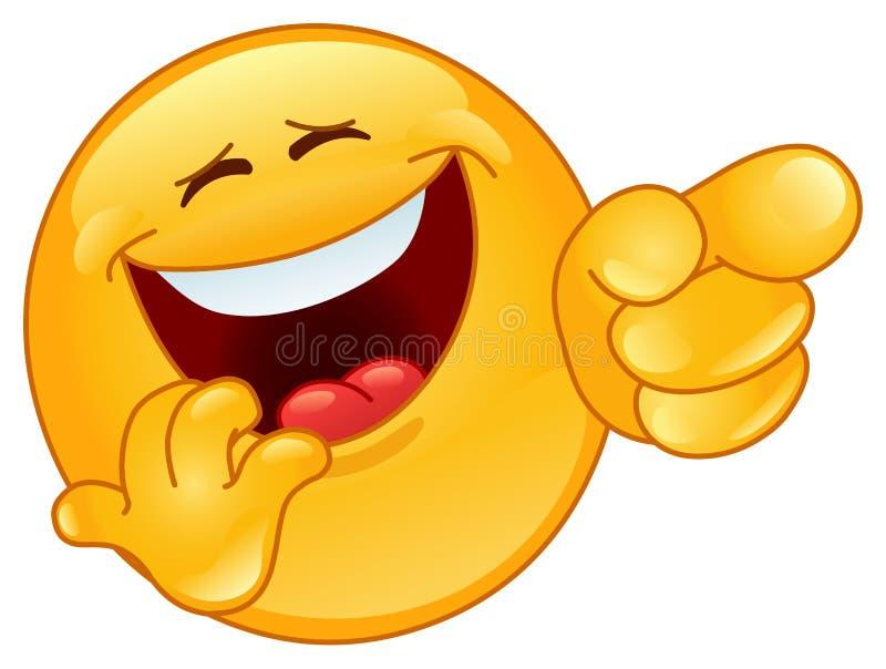 Het lachen en het richten emoticon stock foto