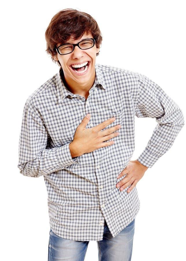 Het lachen kerel met hand op borst royalty-vrije stock foto's