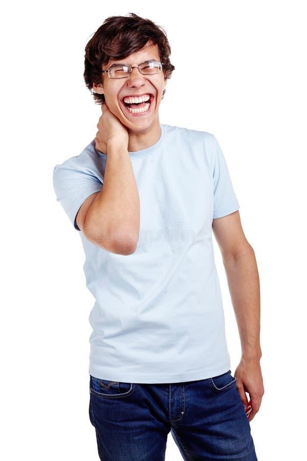 Het lachen kerel met hand op hals royalty-vrije stock foto