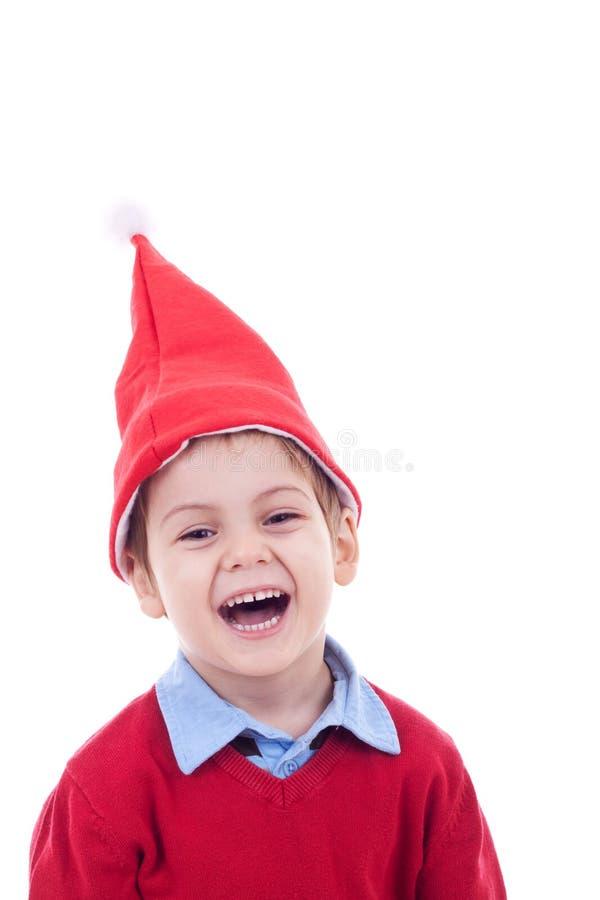 Het lachen kleine santa stock afbeeldingen