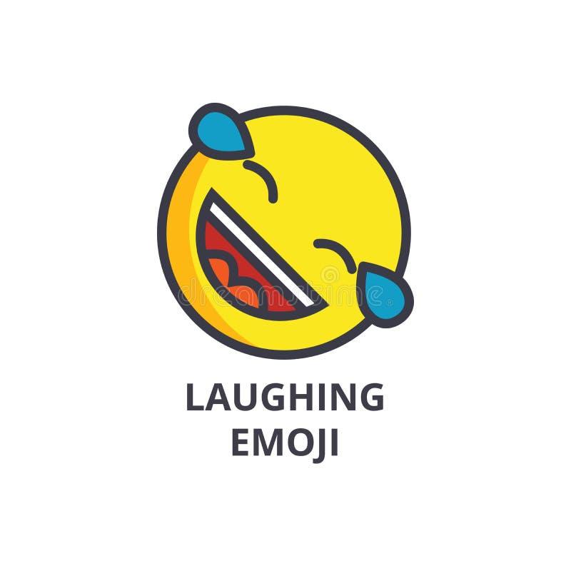 Het lachen het leuke pictogram van de emoji vectorlijn, teken, illustratie op achtergrond, editable slagen stock illustratie
