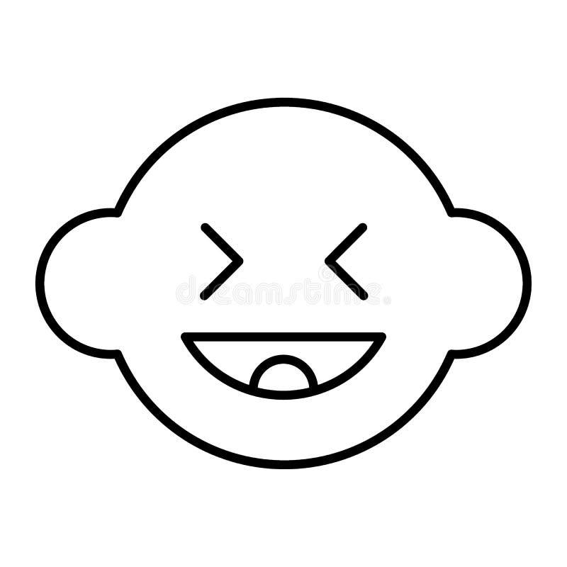 Het lachen het pictogram van de jongens dun lijn De vectordieillustratie van het babygezicht op wit wordt geïsoleerd Het leuke de stock illustratie