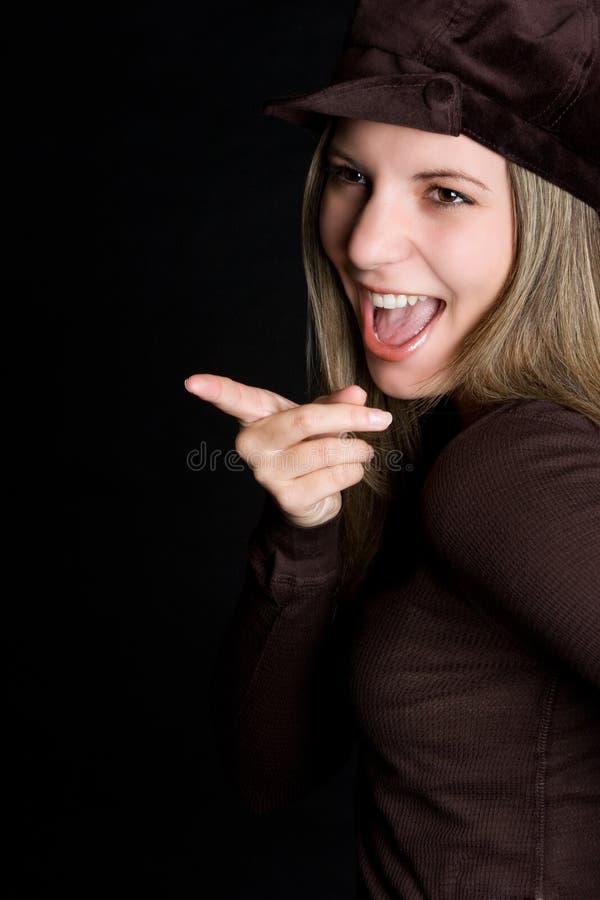 Het lachen Richtend Meisje stock foto